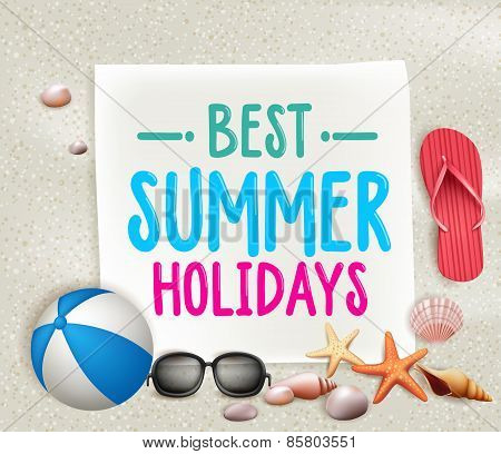 Best Summer Holidays Colorful Title Words in a paper with White Sand