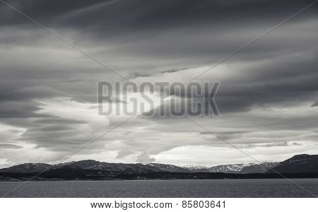 Monochrome Norwegian Coastal Landscape, Dark Sky
