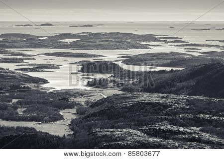 Monochrome Norwegian Coastal Landscape