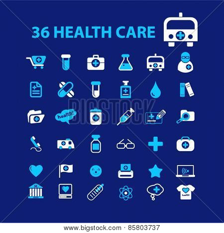 36 health care, medicine, hospital icons, signs, illustrations concept design set on background, vector