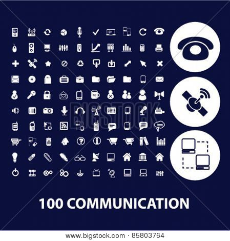 100 communication icons, signs, illustrations concept design set on background, vector
