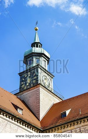 Clock Tower In Munich In Front Of Blue Sky