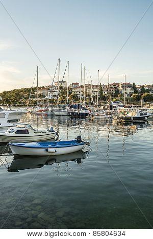 Various Boats In Marina In Adriatic Sea Bay Harbor In Pula, Croatia