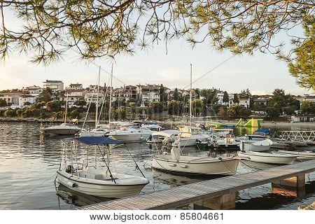 White Boats In Marina In Adriatic Sea Bay Harbor In Pula, Croatia