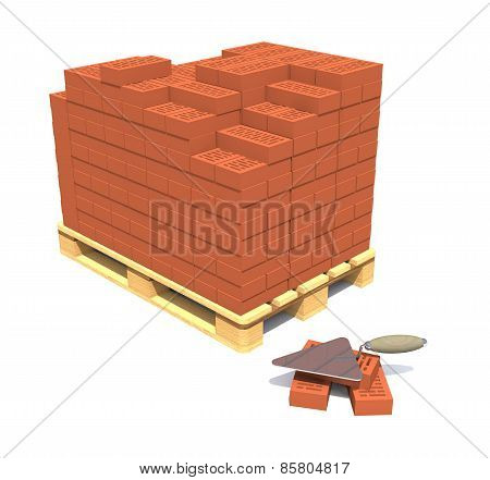 Bricks On A Pallet Are On A White Background.