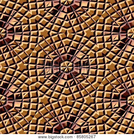Seamless Pattern Of Brown Lightly Damaged Tiles