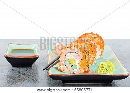 California Maki Sushi Rolls On The Table