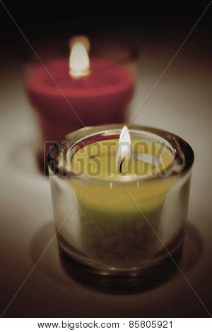 burning tea lights