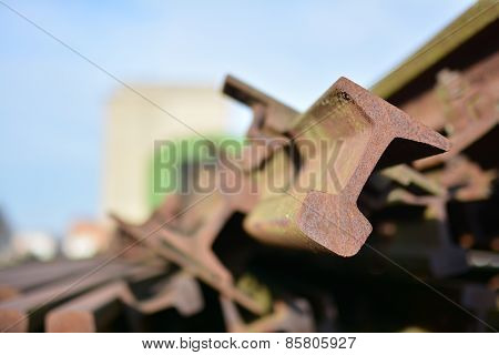 rusted railroad tracks