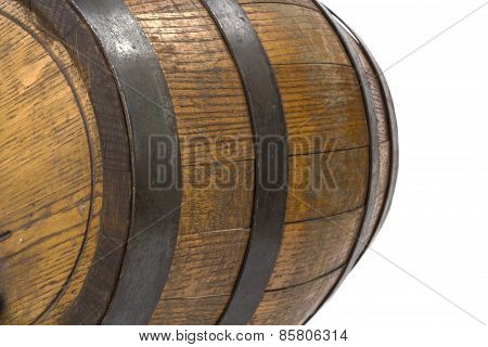 Closeup Of Wood Barrel With Steel Rings On White