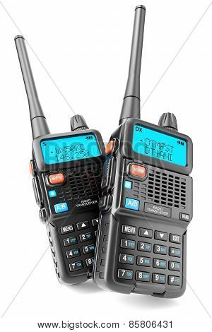 Group Of Two Walkie-talkie Isolated On White Background