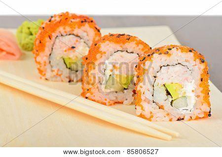 Closeup California Maki Sushi In Row
