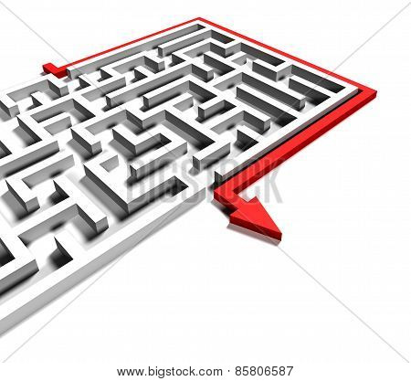 solved labyrinth with red arrow