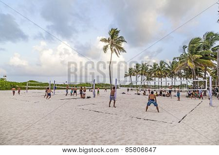 People Enjoy Playing Volleyball In Miami