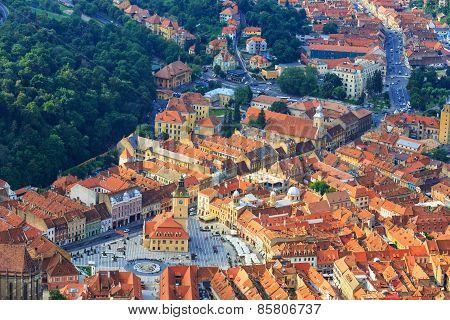 Aerial View Of The Old Town, Brasov, Transylvania, Romania
