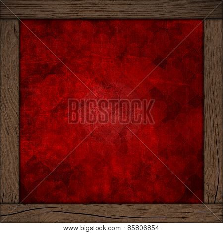 Background With Hearts And Wood Frame