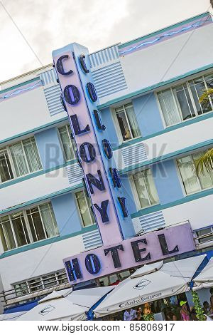 The Art Deco Colony Hotel On Iconic Ocean Drive In The Beautiful South Beach Area Of Miami Beach