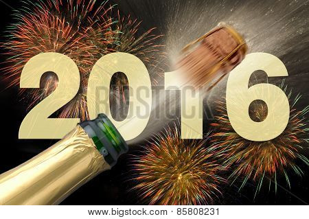 Happy new year 2016 with firework and champagne