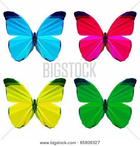 Bright Colored Geometric Polygonal Abstract Butterfly Set Isolated On White
