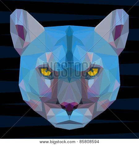 Abstract Colored Futuristic Polygonal Geometric Puma Background For Design