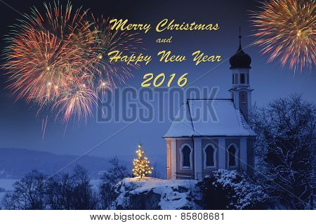 Happy new year 2016 with romantic xmas chapel