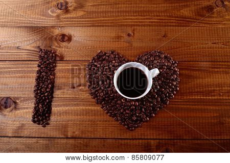 Cup And Coffee Bean Heart