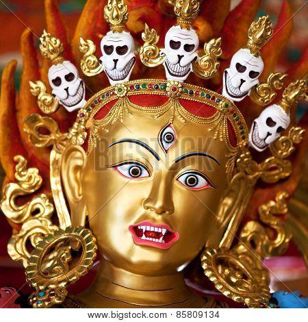 Statue At The Buddhist Monastery In Kathmandu, Nepal