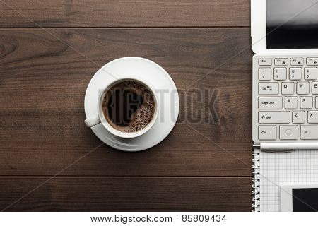 office table and cup of coffee overhead