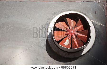 Red propellers of old obsolete fan