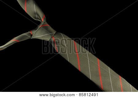 Necktie in silk with red, white and green stripes
