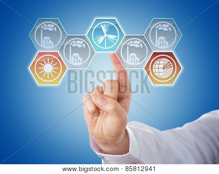 Finger Pushing Hexagonal Renewable Energy Icons