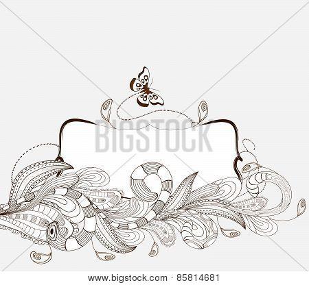 doodle floral picture Frame
