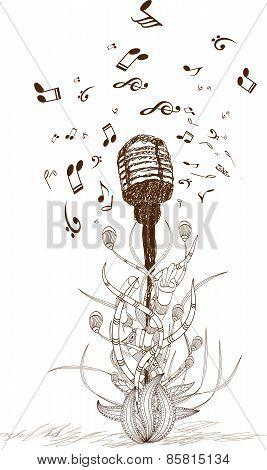 Beautiful doodle art microphone