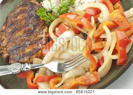 Teriyaki Grilled Chicken With Peppers And Onions