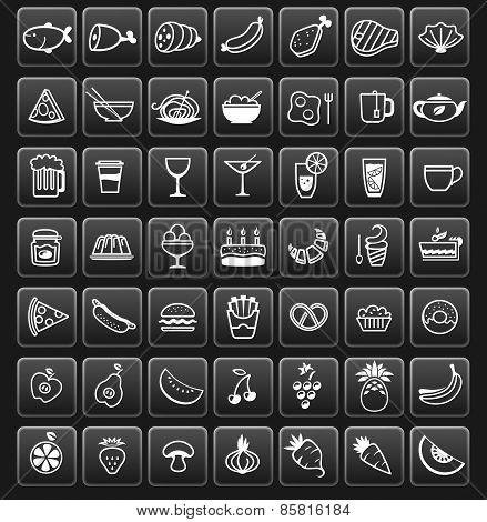 Vector Food Icons On Black Buttons