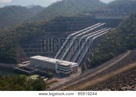 Great Dam To Generate Electricity In The Misty Valley Of Thailand