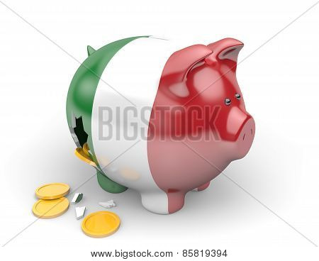Italy economy and finance concept for unemployment and national debt crisis