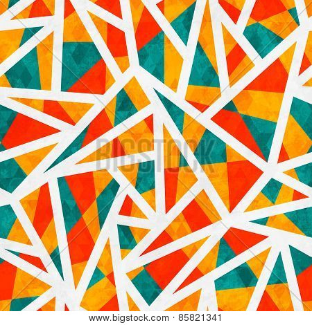 Mosaic Triangle Seamless Pattern With Grunge Effect