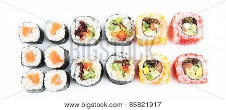 Sushi pieces collection isolated on white