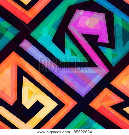Music Geometric Seamless Pattern With Grunge Effect