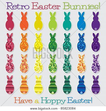 Bright Retro Happy Easter Bunny Set In Vector Format.