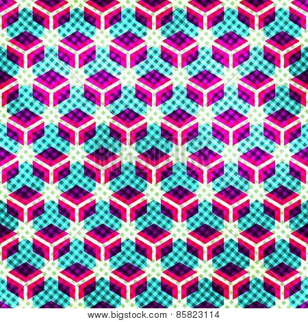 Neon Grid Seamless Pattern With Grunge Effect