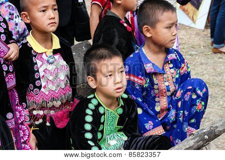 Thailand Hill Tribe Boy With Traditional Costume