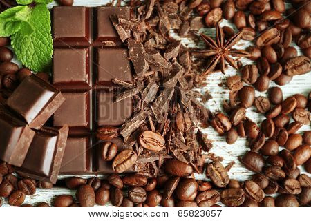 Chocolate with grains and mint, closeup