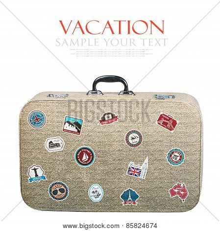 Retro Suitcase With Stickers Isolated On White Background