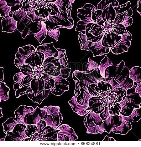 Seamless Floral Outline Pattern On Black