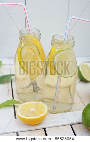 Fresh Homemade Lemonade In Two Jars