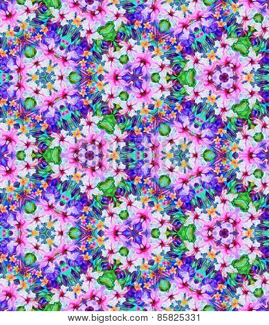 Kaleidoscope With Flowers. Seamless Pattern
