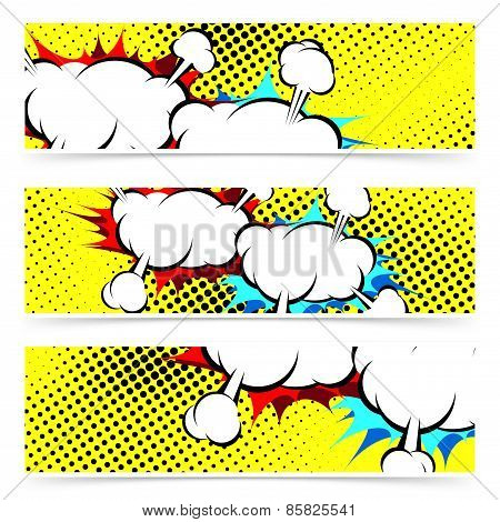 Explosion Retro Pop Art Cloud Collision Concept Header Collection