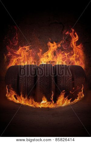 Black Tires On The Hot Flame